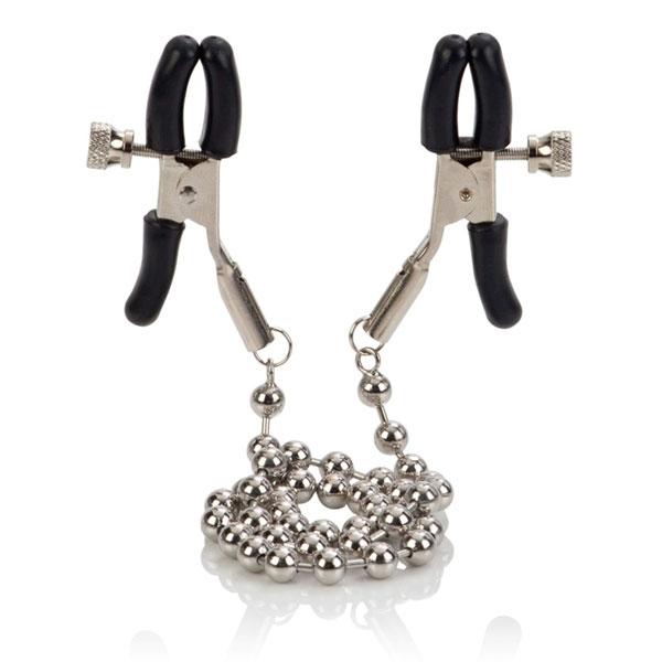 Цепь с зажимами для сосков Silver Beaded Nipple Clamps - фото 291037