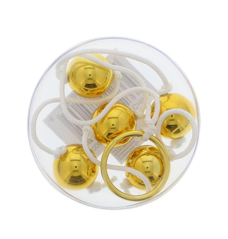 Цепочка из пяти золотистых анальных шариков - фото 128445