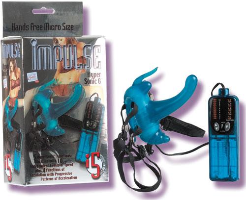 Голубой комбинированный вибростимулятор на трусиках