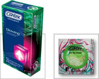 Светящиеся презервативы CONTEX Glowing - 12 шт.