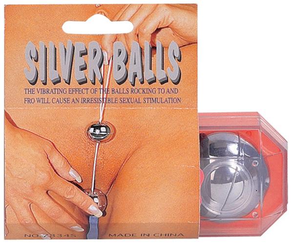 Серебристые вагинальные шарики - фото 4505