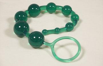 Анальные шарики на жесткой сцепке (зеленые) - фото 128924