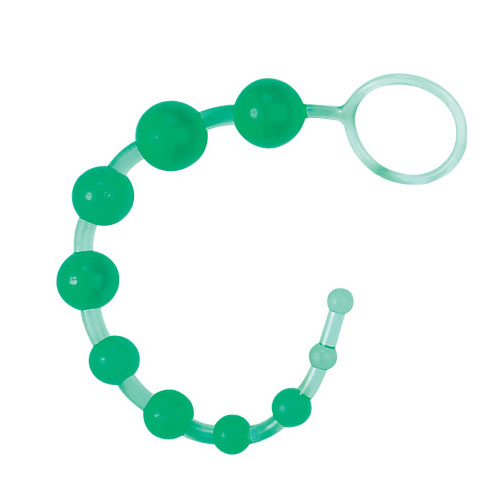 Анальные шарики на жесткой сцепке (зеленые) - фото 291213