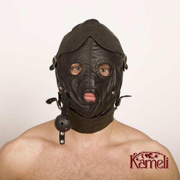 Колпак на голову с отстёгивающимися шорами для глаз и рта