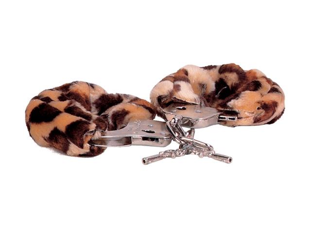 Металлические наручники, обшитые леопардовым мехом - фото 129621