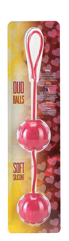Красные вагинальные шарики с сердечками DUO BALLS - фото 176314