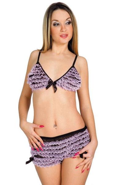 Черный комплект с фиолетовыми кружевными оборками - фото 235657