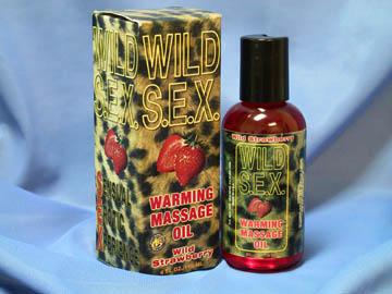 Разогревающее массажное масло с вкусом клубники *Дикий секс*