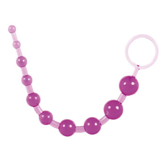 Фиолетовая анальная цепочка с ручкой-кольцом - 25 см. - фото 257455