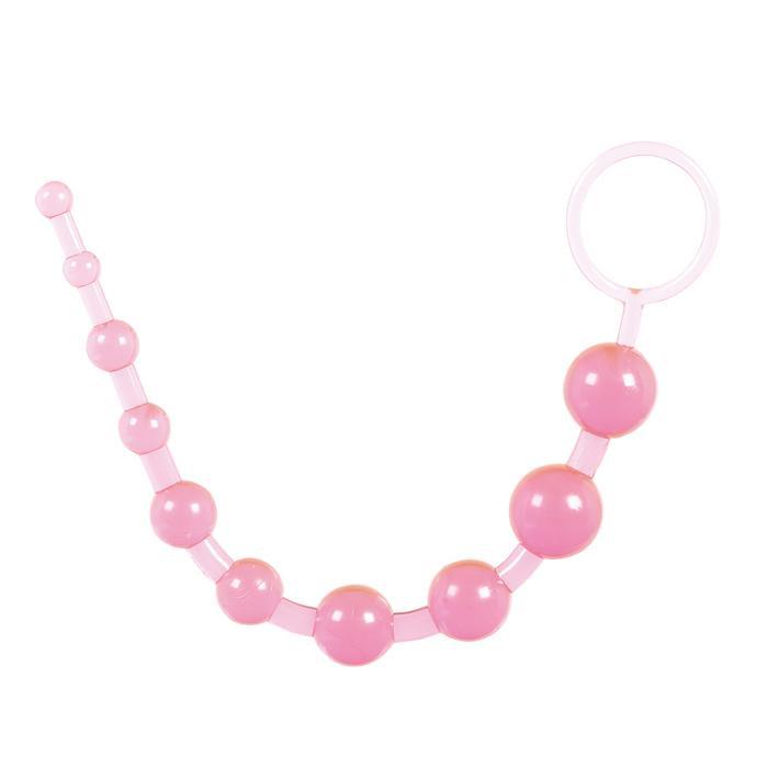 Розовая анальная цепочка с колечком - 25 см. - фото 313130