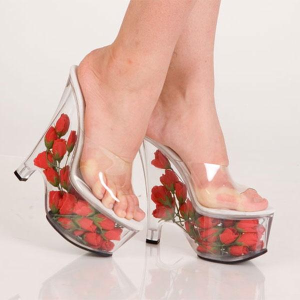 Туфли прозрачные на платформе наполненной розочками - фото 1268291