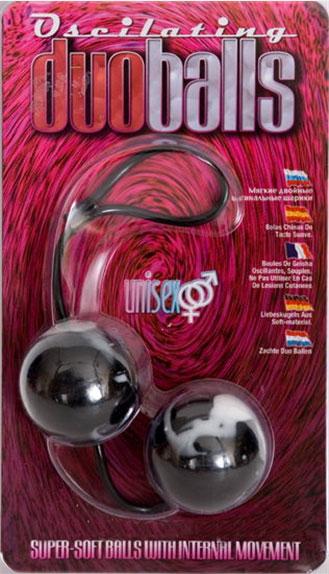 Чёрно-белые вагинальные шарики Duoballs - фото 176414