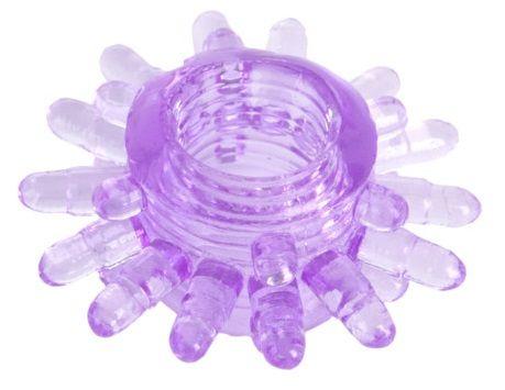 Фиолетовое гелевое эрекционное кольцо с шипиками - фото 631314