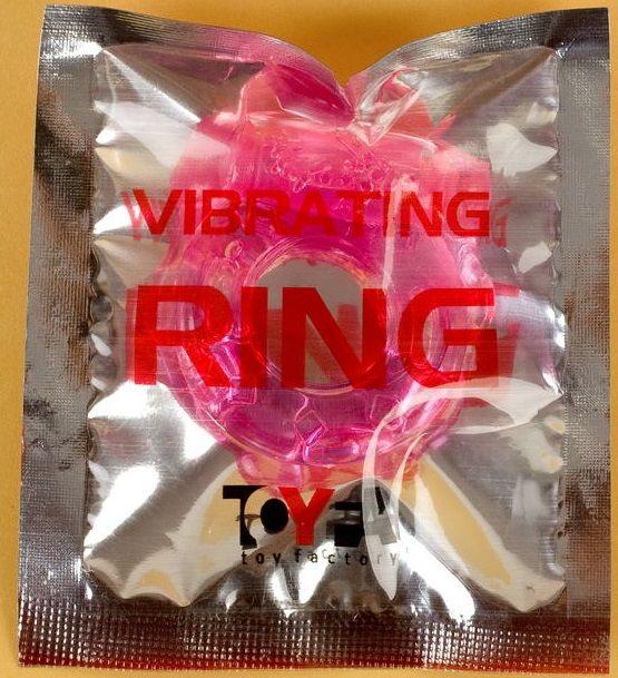 Толстое розовое эрекционное кольцо с вибратором - фото 129367