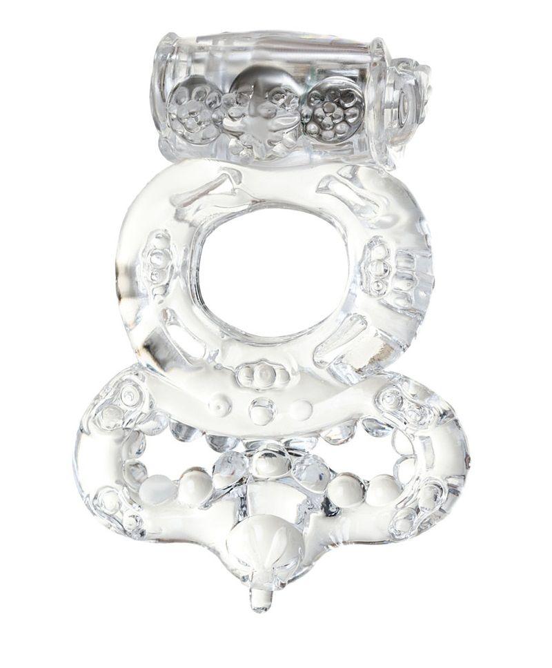 Прозрачное эрекционное кольцо с вибратором  и подхватом - фото 5303