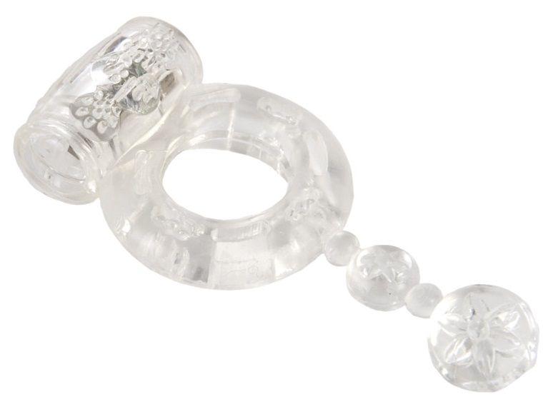 Прозрачное эрекционное кольцо с вибратором и хвостом - фото 291707