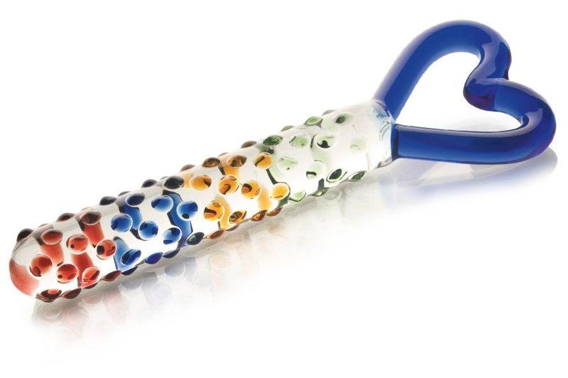 Стеклянный фаллос с ручкой-сердцем - 25 см. - фото 631358
