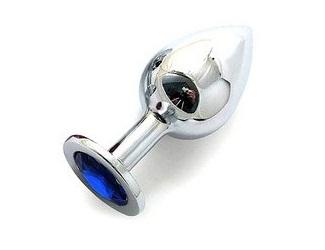 Анальная пробка BUTT PLUG  Large с синим кристаллом - 9,5 см. - фото 291776