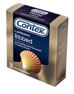 Презервативы с рёбрышками CONTEX Ribbed - 3 шт. - фото 205252