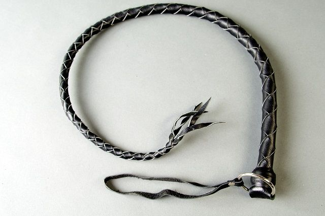 Черная кожаная однохвостая плеть - 60 см. - фото 193518