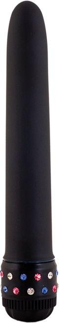 Черный мультискоростной вибратор со стразами длиной 21 см.  - фото 236943