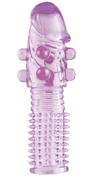 Гелевая фиолетовая насадка с шариками и шипами - 14 см. - фото 177000