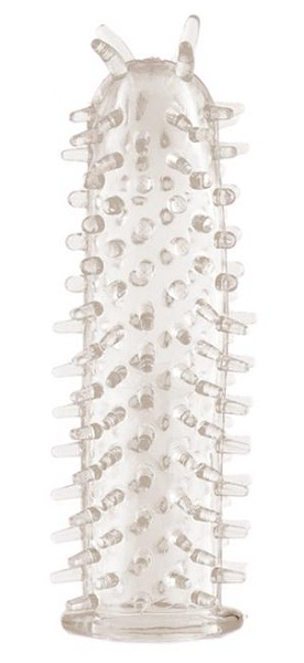 Прозрачная насадка на фаллос с шипами - 11,5 см. - фото 292337