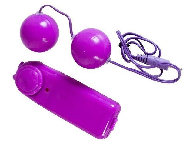 Фиолетовые вагинальные шарики с вибрацией - фото 5788