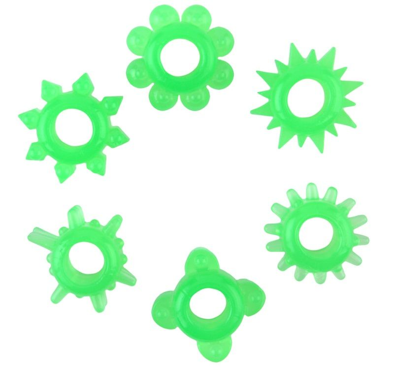 Набор из 6 зелёненьких эрекционных колец - фото 5756