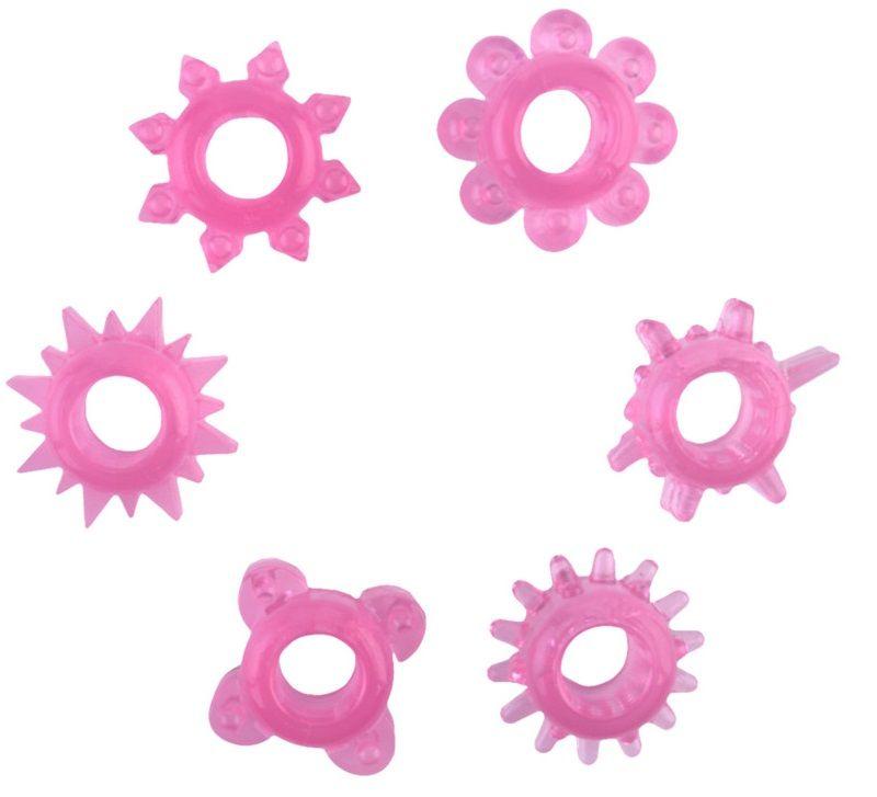 Набор из 6 розовых эрекционных колец - фото 5759