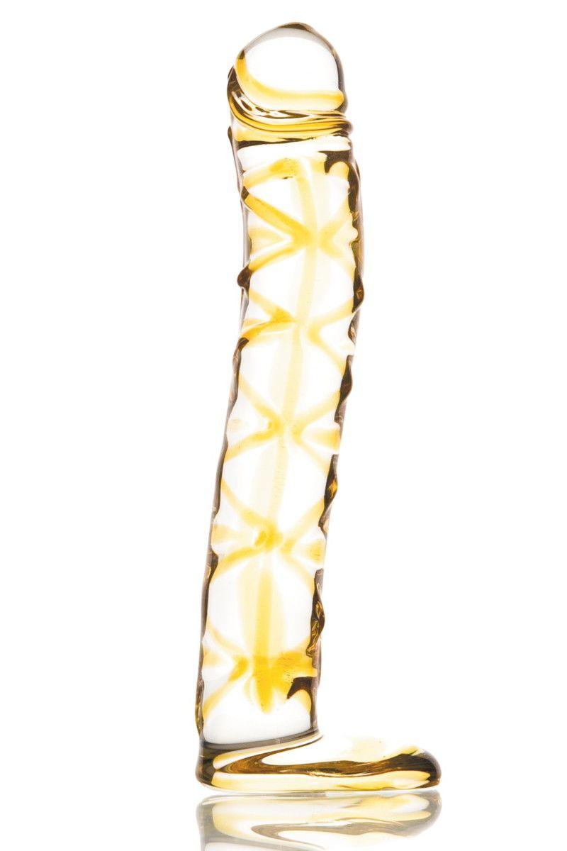 Изогнутый фаллос на подставке - 17 см. - фото 699839
