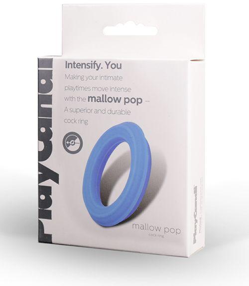 Гладкое эрекционное кольцо голубого цвета Mallow Pop - фото 700084