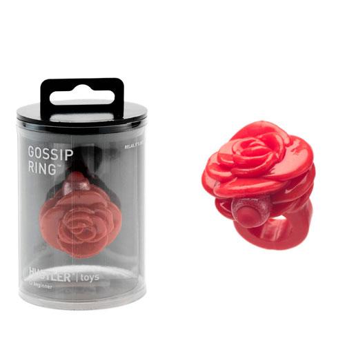 Красное кольцо-цветок на палец с вибрацией Gossip Ring