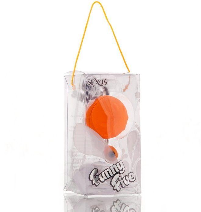 Оранжевый виброшарик с выносным пультом-кнопкой - фото 262940