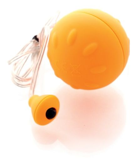 Оранжевый виброшарик с выносным пультом-кнопкой - фото 130330