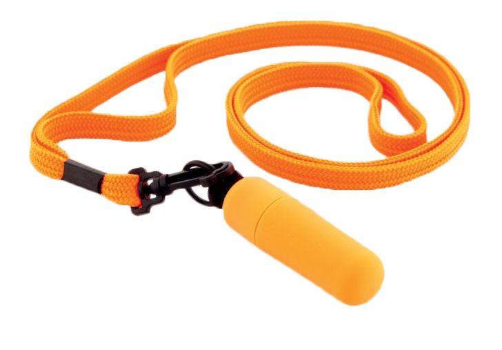 Оранжевая вибропулька с ремешком на шею - 6 см. - фото 292749