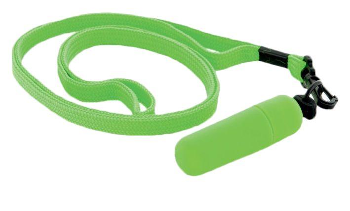 Зеленая вибропулька с ремешком на шею - 6 см. - фото 130364
