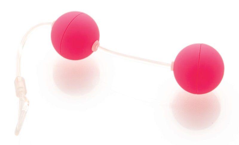 Розовые вагинальные шарики на прозрачной сцепке - фото 314019