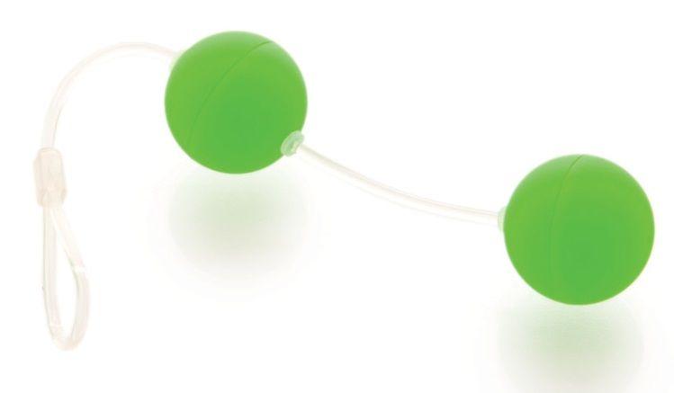 Зеленые вагинальные шарики на прозрачной сцепке - фото 292759