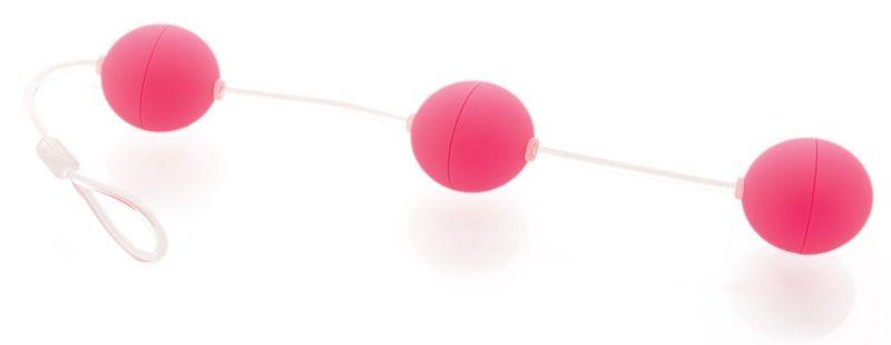 Анальная цепочка из 3 розовых шариков - фото 512980