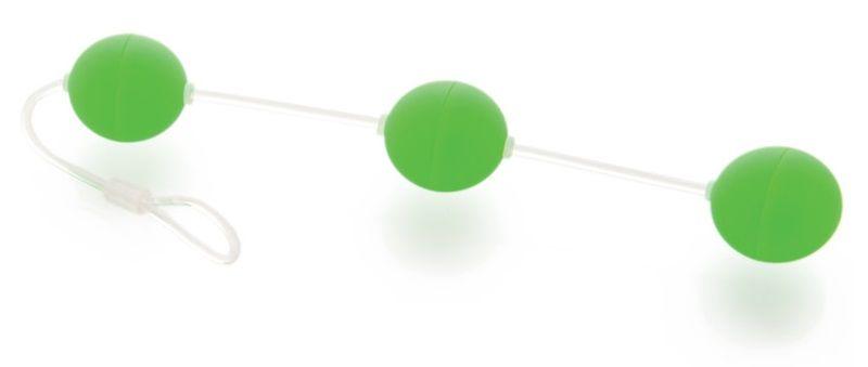 Анальная цепочка из 3 зеленых шариков - фото 130380