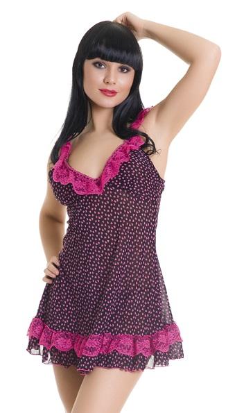 Черная сорочка в розовый горошек и трусики-стринг - фото 237463