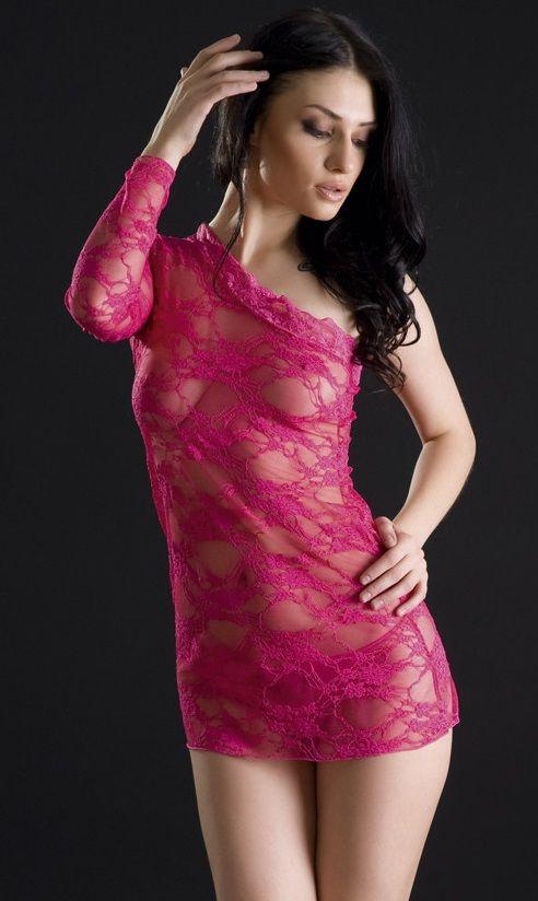 Кружевное платье с одним рукавом - фото 700572