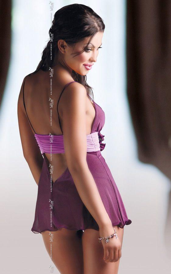 Прозрачная сорочка Fiore с поясом под грудью и трусиками-стринг - фото 130697