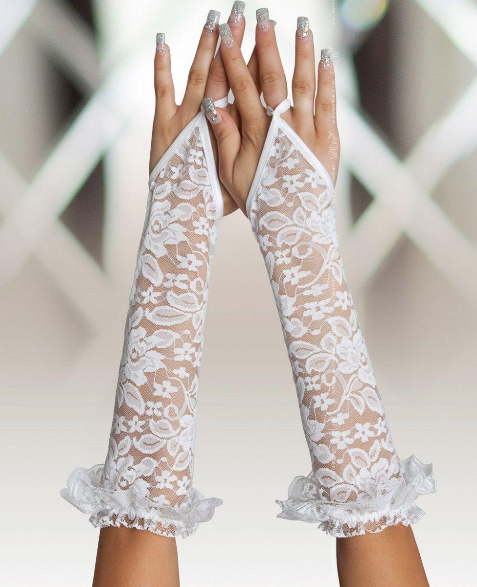 Длинные кружевные перчатки на пальчик - фото 130809