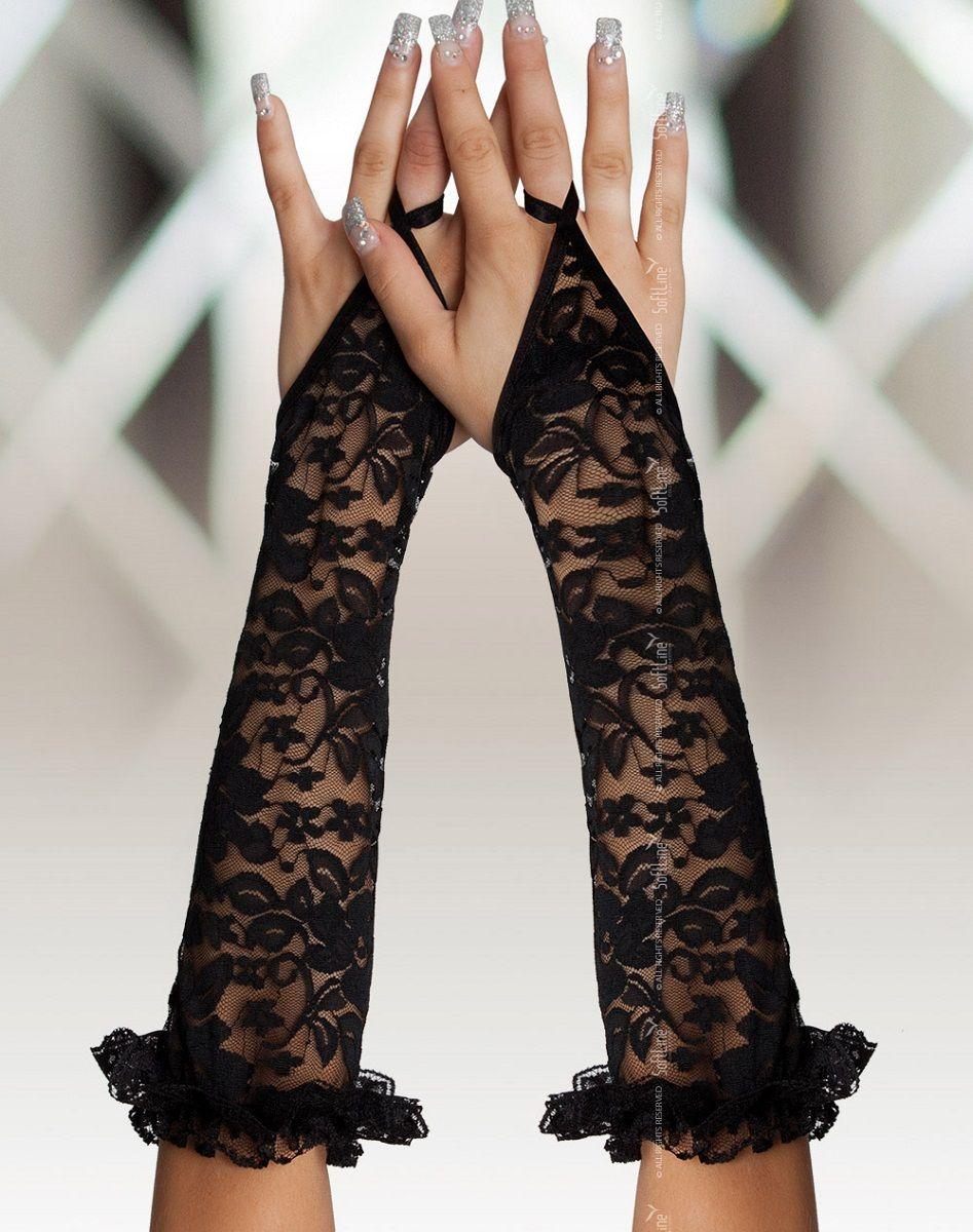 Длинные кружевные перчатки на пальчик - фото 1188726
