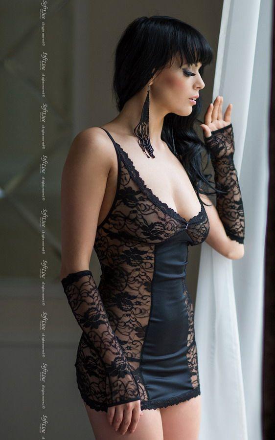 Кружевная сорочка Evie на шнуровке сзади - фото 130828