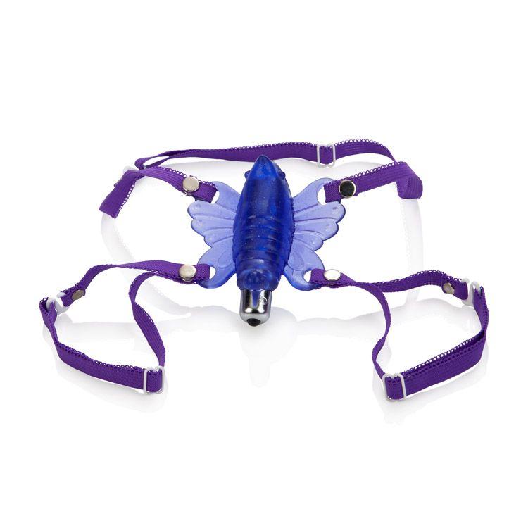 Фиолетовая вибробабочка Wireless Venus Butterfly Wearable Stimulator - фото 293284