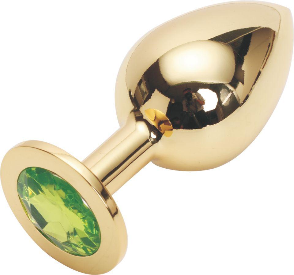 Золотистая анальная пробка GOLDEN PLUG Large с светло-зелёным кристаллом - 9,5 см. - фото 130935