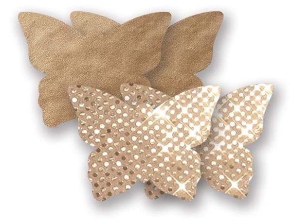 Комплект из 1 пары золотистых пэстис-бабочек с блестками и 1 пары  бежевых пэстис-бабочек с гладкой поверхностью